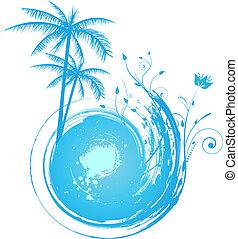 blauwe , palm, grunge, ronde, achtergrond