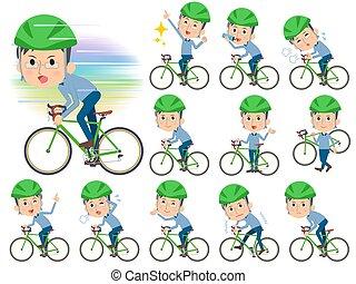 blauwe , papa, fiets, rijden, glas, kleding