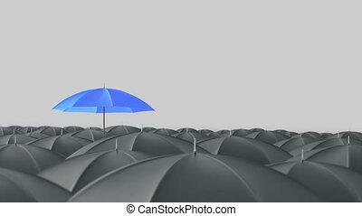 blauwe , paraplu, uit het munten, van, menigte, massa,...