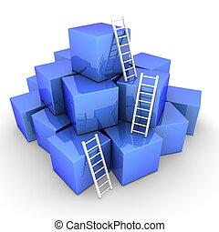 blauwe , -, partij, op, ladders, helder, dozen, klimmen, ...