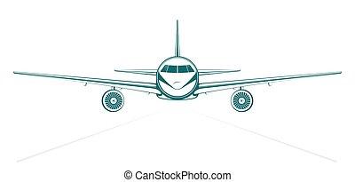 blauwe , passagier, schets, straalvliegtuig, geverfde, vlakte, voorkant