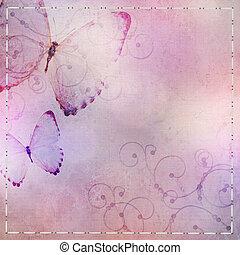 blauwe , pastel, paarse , vlinder, achtergrond