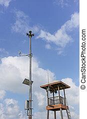 blauwe , patrouille, sky., conducteur, lifesaver, toren, strand, wolk