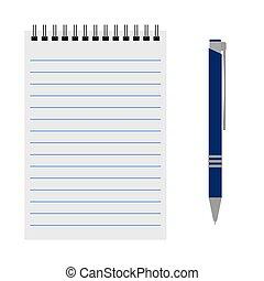 blauwe pen, aantekenboekje, vector