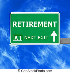 blauwe , pensioen, duidelijke lucht, tegen, meldingsbord, straat