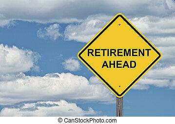 blauwe , pensioen, vooruit, -, hemel, meldingsbord, voorzichtigheid