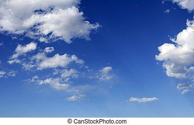 blauwe , perfect, wolken, hemel, zonnig, dag, witte
