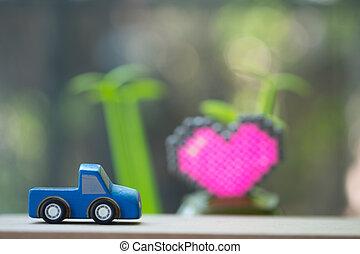 blauwe , pickup, ophaling, afhaling, stuk speelgoed vrachtwagen