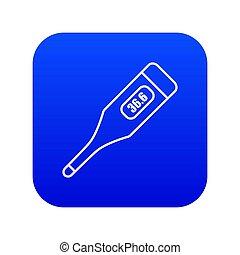 blauwe , pictogram, digitale thermometer