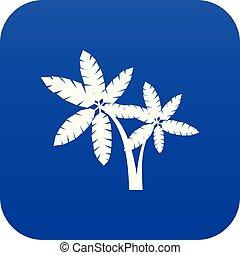 blauwe , pictogram, palma, digitale