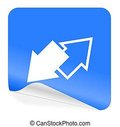 blauwe , pictogram, sticker, verwisselen