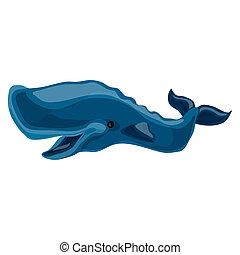 blauwe , pictogram, walvis, stijl, spotprent