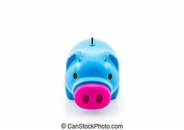 blauwe piggy bank, besparing, .