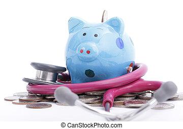 blauwe piggy bank, met, stethoscope