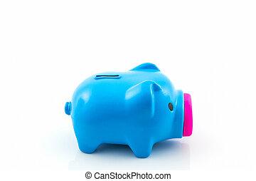 blauwe piggy bank, saving.