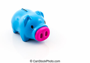 blauwe piggy bank, saving.