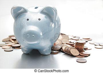 blauwe piggy bank