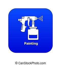 blauwe , pistool, pictogram