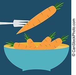blauwe plaat, concept, organisch, boerderij, wortels, bladeren, fris