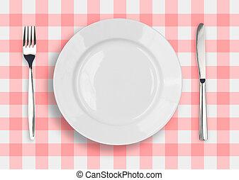 blauwe plaat, gecontroleerde, vork, witte , mes, tafelkleed