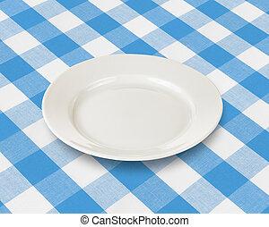blauwe plaat, gecontroleerde, weefsel, op, schaaltje, tafelkleed, of