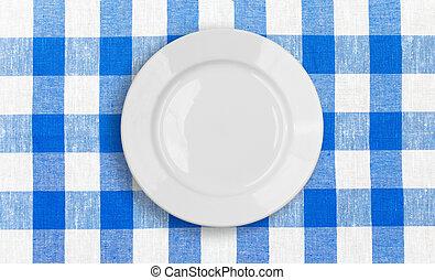 blauwe plaat, gecontroleerde, weefsel, witte , tafelkleed