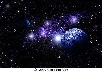 blauwe planeet, diep, in, ruimte