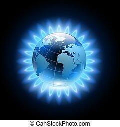 blauwe planeet, vlam, ongeveer, aarde