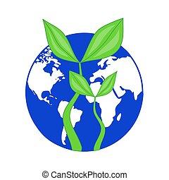 blauwe , plant, ecologie, globe, symbool, -, dag, planeet, opslag, brink loof, groeiende, aarde, enviromental, of