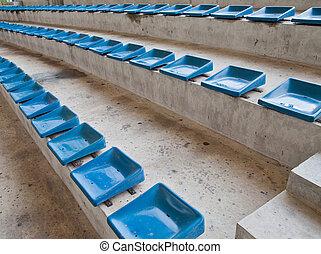 blauwe , plastic, oud, zetels