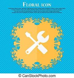 blauwe , plat, abstract, text., schroevendraaier, vector, ontwerp, moersleutel, achtergrond, floral, plek, icon., jouw
