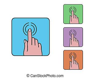 blauwe , plat, afgerond, schets, eenvoudig, scherm, hand, klikken, pictogram, vector, vinger, beroeren, plein, spotprent, symbool, gekleurde