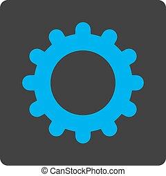 blauwe , plat, afgerond, tandwiel, grijs, knoop, kleuren