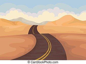 blauwe , plat, buiten, road., asfalt, sky., vector, zand, scenery., ontwerp, vallei, verlaat landschap, heuvels