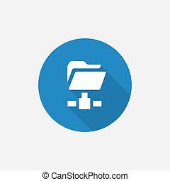 blauwe , plat, eenvoudig, lang, map, schaduw, net, pictogram