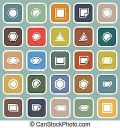 blauwe , plat, etiket, achtergrond, iconen