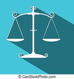 blauwe , plat, justitie, schalen., lang, achtergrond., vector, ontwerp, schaduw, symbool