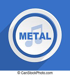 blauwe , plat, moderne, metaal, ontwerp, muziek, pictogram