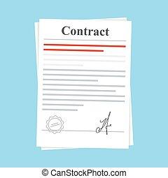 blauwe , plat, ondertekeend, delen, achtergrond., agreement., vrijstaand, illustratie, postzegel, papier, contracteren, document, signature., pictogram