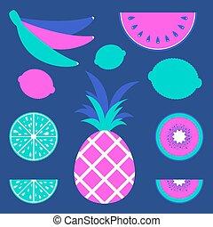 blauwe , plat, ongewoon, set, gekleurde, illustration., ontwerp, eenvoudig, abstract, vrijstaand, achtergrond., vector, smakelijk, vruchten, drawing., advertising., suitable, pakketten, postkaarten