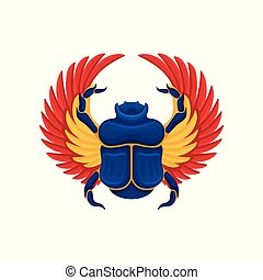 blauwe , plat, oud, egyptisch, geel-oranje, wings., scarab, cultuur, vector, insect., heilig, kever, symbool, pictogram