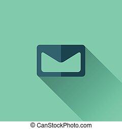 blauwe, plat, pictogram, enveloppe, Ontwerp