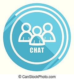 blauwe , plat, praatje, web, bewerken, illustratie, toepassingen, vector, ontwerp, beweeglijk, gemakkelijk, pictogram, webdesign