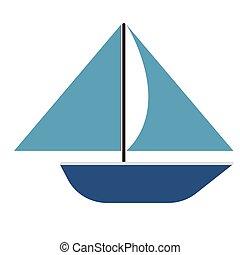 blauwe , plat, scheepje, illustratie