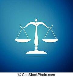 blauwe , plat, schub, versieren, pictogram, schalen, justitie, teken., vrijstaand, illustratie, symbool., achtergrond., vector, evenwicht, wet, design.