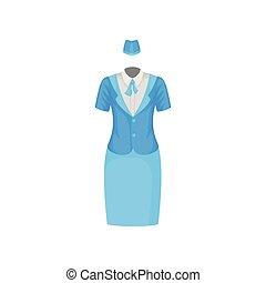 blauwe , plat, skirt., werkende , gastvrouw, jas, lucht, suit., vector, ontwerp, vrouwlijk, stewardess., blouse, wit uniform, hoedje, uniform.