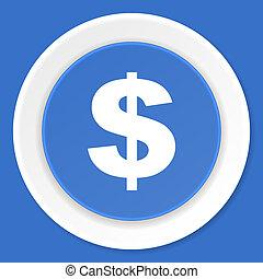blauwe, plat,  web, moderne,  Dollar, Ontwerp, pictogram