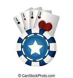 blauwe , poker stukje, casino, azen, kaarten