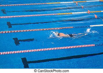 blauwe , pool., water, puur, pool, zwemmen