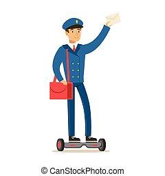 blauwe , postbode, brievenbesteller, volbrengen, draai, scooter, uniform, post, glimlachen, bezorgen, plichten